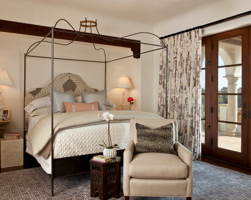 Example Of A Mid Sized Tuscan Guest Dark Wood Floor Bedroom Design In Santa  Barbara