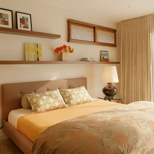 Example Of A Trendy Bedroom Design In Santa Barbara With Beige Walls