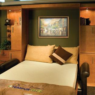 Foto de habitación de invitados actual, pequeña, con paredes verdes, moqueta y suelo verde