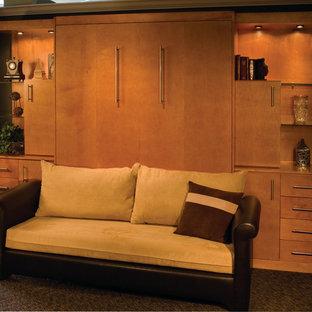 Свежая идея для дизайна: маленькая гостевая спальня в современном стиле с зелеными стенами, ковровым покрытием и зеленым полом - отличное фото интерьера