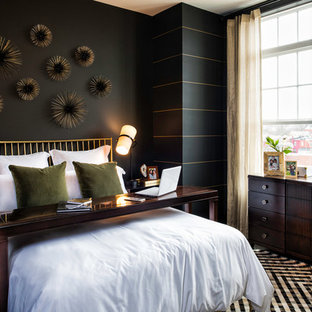 Inspiration for a contemporary master bedroom in DC Metro with black walls.