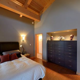 Example Of A Trendy Bedroom Design In Calgary With Gray Walls