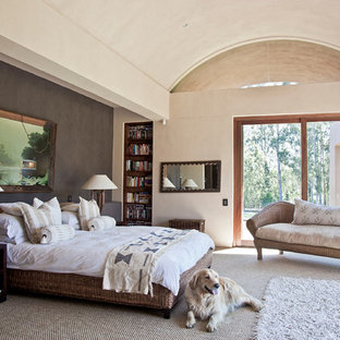 Trendy master carpeted bedroom photo in Other with brown walls