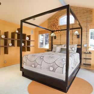 Modelo de dormitorio exótico con parades naranjas