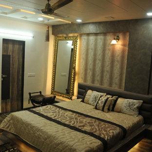 Ispirazione per una camera da letto vittoriana con pareti nere