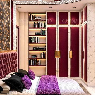 Ms Priya's Modern Luxury Maroon Red Bedroom   Alipur, Kolkata   CDI