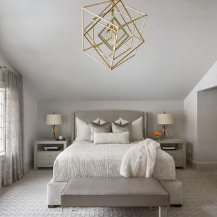 Bedroom - transitional master carpeted and gray floor bedroom idea in New York with gray walls