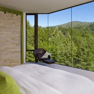 Inspiration pour une grand chambre design avec un mur beige et aucune cheminée.