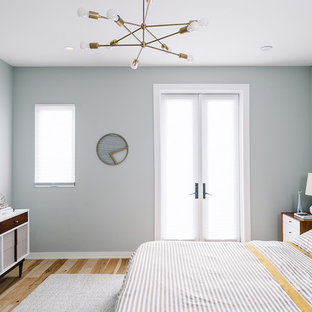Example of a mid-sized danish master light wood floor bedroom design in Austin with blue walls and no fireplace