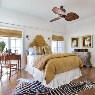 Bedroom - eclectic guest dark wood floor and brown floor bedroom idea in Other with white walls and no fireplace