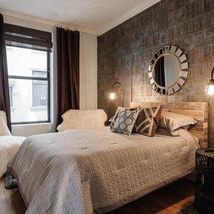 Chambre industrielle avec un mur gris : Photos et idées déco de chambres