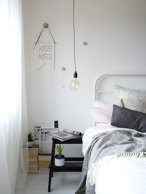 Inspiration For A Mid Sized Scandinavian Master Bedroom Remodel In Kent  With White Walls And