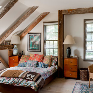 Example of an eclectic master light wood floor bedroom design in New York with white walls