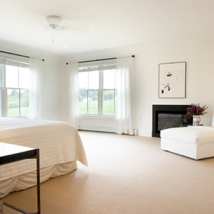 Bedroom Contemporary Carpeted Idea In Boston With White Walls