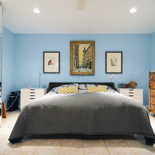 Inspiration for an eclectic travertine floor bedroom remodel in Dallas with blue walls