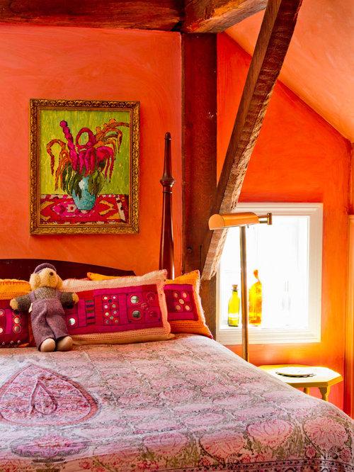 camera da letto in campagna con pareti arancioni - foto e idee per ... - Camera Da Letto Arancione