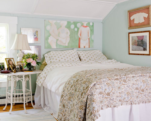 Wonderful Example Of A Small Cottage Chic Bedroom Design In New York With Blue Walls  And Medium Pictures Gallery
