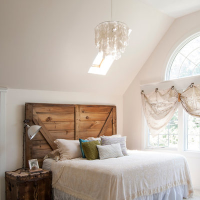 Bedroom - large eclectic master carpeted bedroom idea in Cleveland with white walls and no fireplace