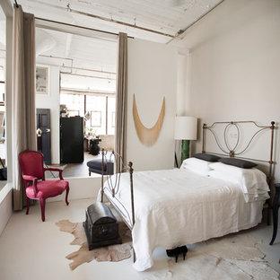 Urban concrete floor bedroom photo in New York
