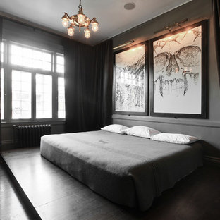 Trendy bedroom photo in Salt Lake City with gray walls