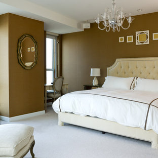 Transitional carpeted bedroom photo in Chicago with brown walls