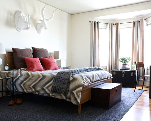 Inspiration For A Large Transitional Master Medium Tone Wood Floor Bedroom  Remodel In San Francisco With