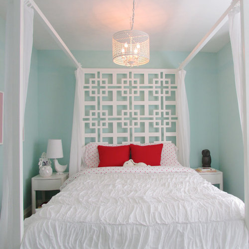 Inspiration For A Contemporary Bedroom Remodel In Toronto With Blue Walls
