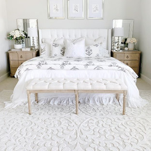 Country guest bedroom photo in Other with white walls
