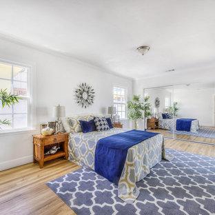 Coastal Guest Medium Tone Wood Floor And Beige Floor Bedroom Photo In Los  Angeles With White
