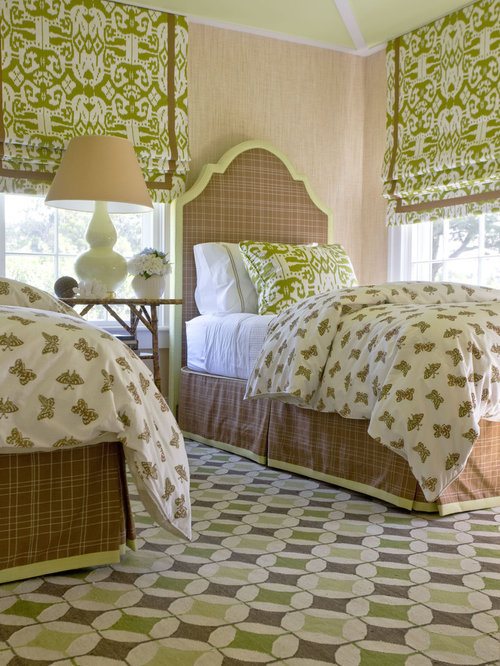 Inspiration For An Eclectic Guest Bedroom Remodel In New York With Beige  Walls