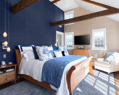 Best 15 Beach Style Blue Bedroom Ideas & Remodeling Photos | Houzz