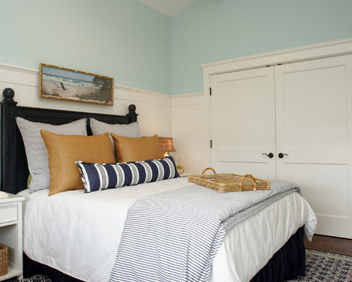 Inspiration For A Beach Style Bedroom Remodel In Los Angeles With Blue Walls