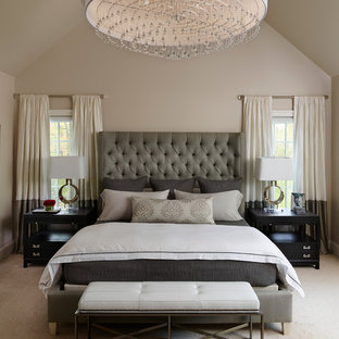 Example of a transitional master carpeted bedroom design in Philadelphia with beige walls and no fireplace
