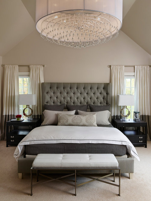 Transitional bedroom design ideas remodels photos houzz for Bed design photos