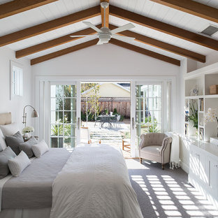 Bedroom - mid-sized cottage master carpeted bedroom idea in San Francisco with white walls