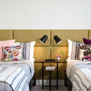Trendy bedroom photo in Other with white walls