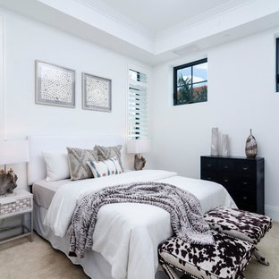 This is an example of a traditional guest bedroom in Miami with white walls, carpet and beige floors.