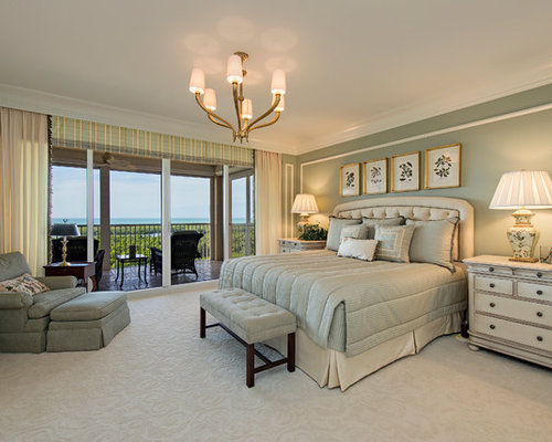 Lovely Example Of A Classic Master Carpeted Bedroom Design In Miami With Green  Walls