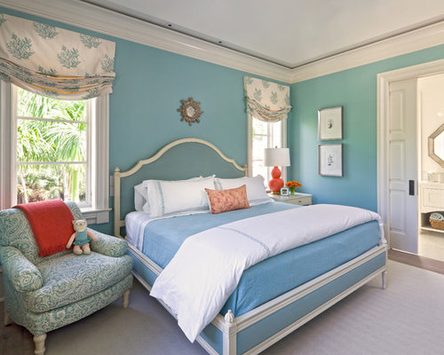 Superior Inspiration For A Timeless Master Medium Tone Wood Floor Bedroom Remodel In  Boston With Blue Walls