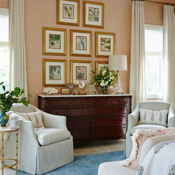 Naples Florida Vacation Home Master Bedroom with Pink Grasscloth