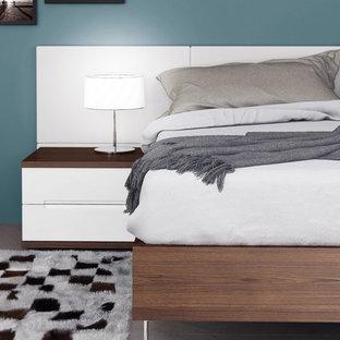 Foto de dormitorio principal, minimalista, de tamaño medio, sin chimenea, con paredes grises y suelo vinílico