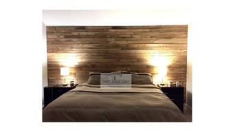 Natural wood accent wall