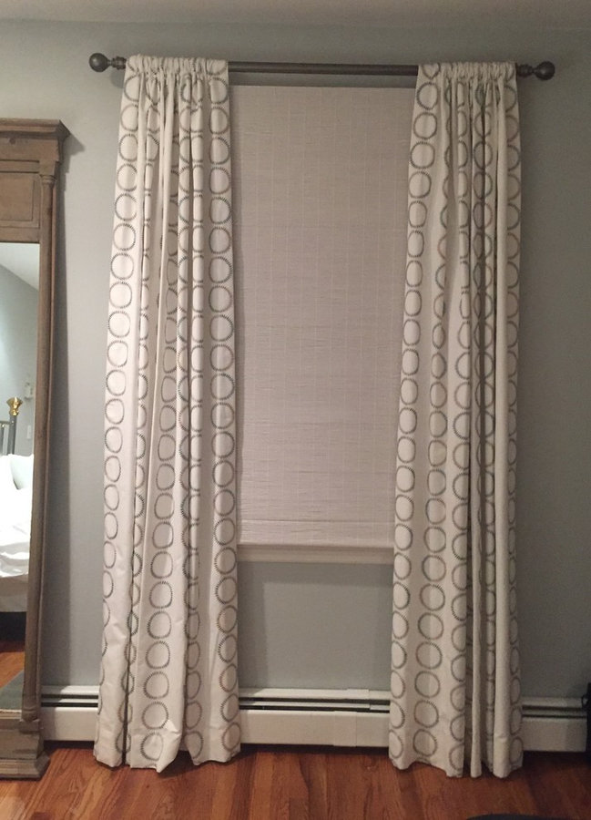 Natural Woven Shades with Bold Side Panels and Black Out Lining, Master Bedroom