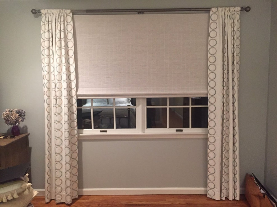 Natural Woven Shades with Bold Side Panels and Black Out Lining