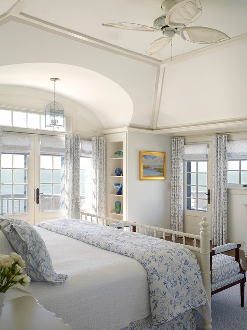 Beach Style Bedroom Idea In New York With White Walls
