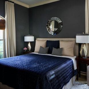 Imagen de habitación de invitados tradicional renovada, grande, sin chimenea, con paredes grises y moqueta