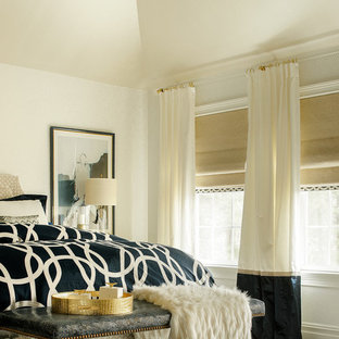 Design ideas for a mid-sized midcentury master bedroom in New York with white walls, dark hardwood floors and no fireplace.