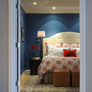 Bild på ett vintage huvudsovrum, med blå väggar och ljust trägolv