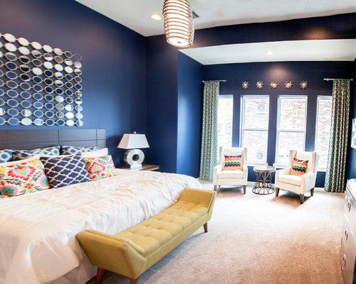 Medium Sized Blue Bedroom Design Ideas, Renovations & Photos
