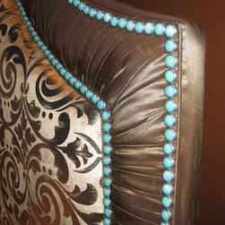 Neely Design Associates - Diamond Head Upholstery Tack in Turquoise Matrix were used to complete the stunning ensemble of this master bedroom. Interior design by Neely Design Associates, Atlanta, GA.